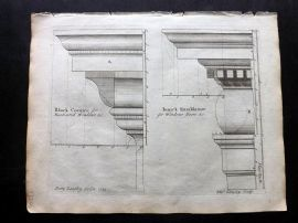 Langley 1777 Antique Architectural Print. Block Cornice, Ionick Entablature 43